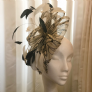 Cream and black comb fascinator SN81